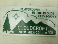 Cloudcroft New Mexico Lions Club Booster License Plate