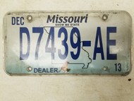 2013 Missouri Dealer Show Me State License Plate D7439-AE