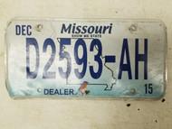2015 Missouri Dealer Show Me State License Plate D2593-AH