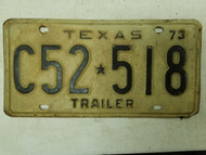 1973 Texas Trailer License Plate C52-518