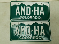 Colorado Denver County License Plate AMD-HA Pair