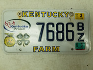 2012 Kentucky Proud Farm License Plate 7686