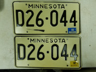 1987 - 1988 Minnesota Dealer License Plate D26-044 Pair
