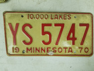 1970 Minnesota 10,000 Lakes License Plate YS 5747