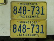 Minnesota Tax Exempt License Plate 848-731 Pair