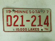 1977 Minnesota Dealer 10,000 Lakes License Plate D21-214