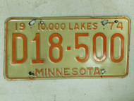 1974 Minnesota Dealer 10,000 Lakes License Plate D18-500