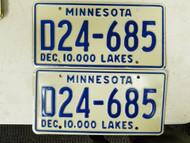 Minnesota Dealer 10,000 Lakes License Plate D24-685 Pair