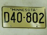 Minnesota Dealer License Plate D40-802