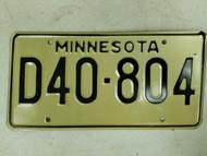 Minnesota Dealer License Plate D40-804