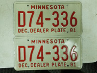 1981 Minnesota Dealer License Plate D74-336 Pair