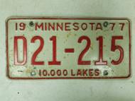 1977 Minnesota Dealer License Plate D21-215