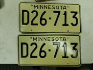 Minnesota Dealer License Plate D26-713 Pair