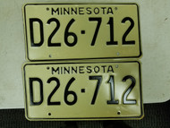 Minnesota Dealer License Plate D26-712 Pair