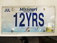 "2015 Missouri Show Me State License Plate 12YRS ""Twelve Years"""