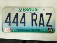 2007 Missouri Show Me State License Plate 444 RAZ Triple Four