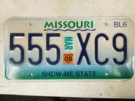2008 Missouri Show Me State License Plate 555 XC9 Triple Five