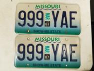 2007 Missouri Show Me State License Plate 999 YAE Triple Nine Pair