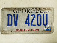 2016 Georgia Disabled Veteran License Plate DV 420U Weed Pot Marijuana