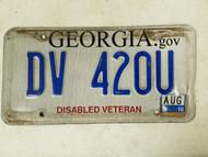2016 Georgia Disabled Veteran License Plate DV 420U Weed Pot Marijuana