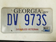 2016 Georgia Disabled Veteran License Plate DV 973S