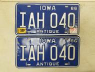 1986 (1992 Tag) Iowa Antique License Plate IAH 040 Pair