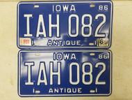 1986 (1989 Tag) Iowa Antique License Plate IAH 082 Pair