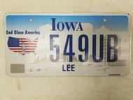 Iowa Lee County License Plate 549UB