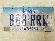 Iowa Crawford County License Plate 888 RRW Triple Eight
