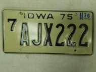 1975 (1976 Tag) Iowa Black Hawk County License Plate AJX222 Triple Two