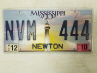 2010 Mississippi Newton License Plate NVM 444 Triple 4