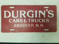 New Hampshire Durgin's Cars & Trucks Booster License Plate
