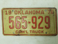 1976 Oklahoma Commercial Truck License Plate 565-929