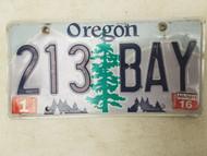 2016 Oregon License Plate 213 BAY