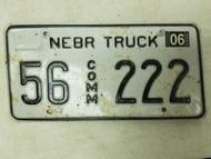 2006 Nebraska Commercial Truck License Plate 56 222 Triple Two
