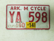 2014 Arkansas Motorcycle License Plate YA 598