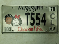 2015 Mississippi Choose Life License Plate T554