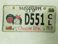 2015 Mississippi Choose Life License Plate D551