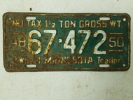 1948-1950 Minnesota No Tax Half Ton Two Wheel Trailer License Plate 67-472