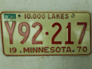 1970 (1971 Tag) Minnesota 10,000 Lakes License Plate Y92-217