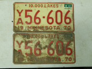 1970 Minnesota 10,000 Lakes License Plate 56-606 Pair