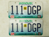 2003 2009 Missouri Show Me State License Plate 111 DGP Triple One Pair