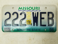 1998 (2009 Tag) Missouri Show Me State License Plate 222 WEB Triple Two