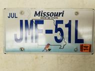 2014 Missouri Bird Show Me State License Plate JMF-51L