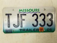 2005 (2008 Tag) Missouri Trailer License Plate TJF 333 Triple Three