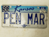 Kansas Sedgwick County License Plate PEN MAR