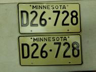 Minnesota Dealer License Plate D26-728 Pair
