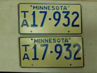 Minnesota License Plate 17-932 Pair