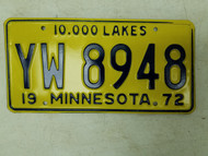 1972 Minnesota 10,000 Lakes License Plate YW 8948