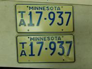 Minnesota License Plate 17-937 Pair